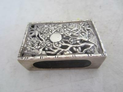C1900 Chinese Silver Match Box Case- Bird & Floral Decoration - Marked