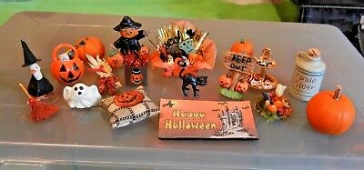 Dollhouse miniatures, Halloween, fall pumpkins, treats, decor, large lot