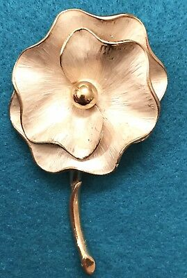 Vintage Gold Brooch Pin Estate Sale Pearl Metallic Enamel Antique Flower Floral