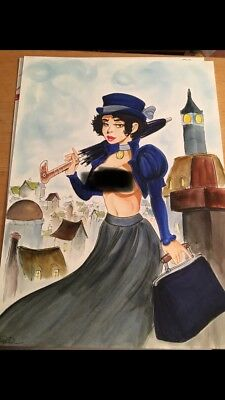 MARY POPPIN OUT  Original Art by BARRY BLAIR & COLIN CHAN 10x14 Poppins