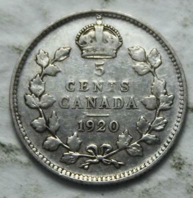 Canada 1920 Silver 5 Cents, Old Date KGV