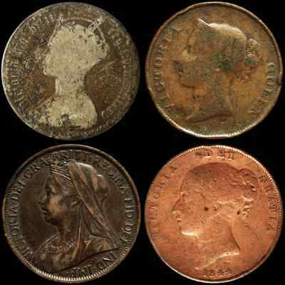 4 Different Coins of Victoria - Net Fine to XF - 1844, 1845, 1875, 1900