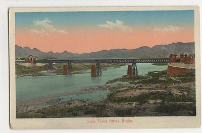 India, Indus Flood Attack Bridge Postcard, B230