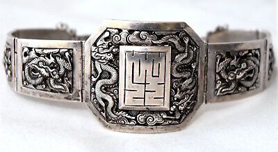 Antique Chinese .900 Silver Hand Crafted Dragon and Floral Bracelet