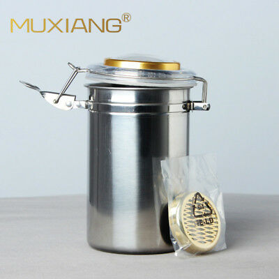 Stainless steel Cigar Humidor humiditer jar Taobacco Coffee bean Tea Candy round