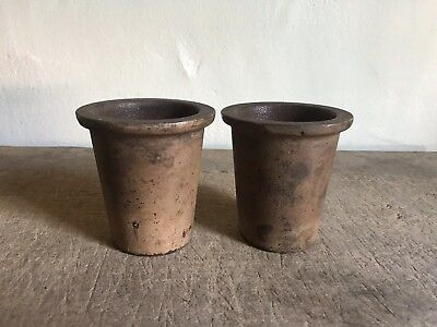 2 Small Old Antique Cast Iron Planters Pots Original Putty Paint AAFA