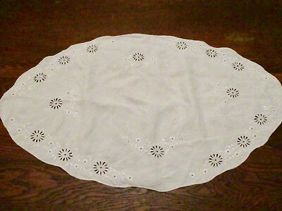 """Quaker Lace Style Table Buffet Piano Runner Dresser Scarf 32"""" Ivory Floral"""