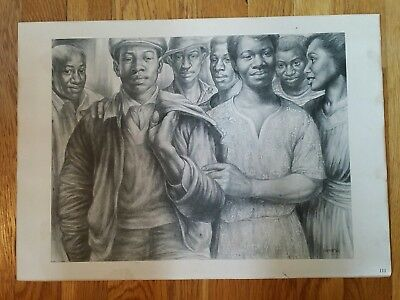African American Family Lithograph By Charles White 1983