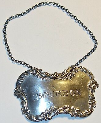 EARLY Antique BOURBON Sterling Silver LIQUOR BOTTLE TAG w/CHAIN~21.2G~LOT #6!