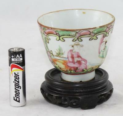 Vintage-Chinese Porcelain Tea Cup w/Wood Stand-Hand Painted