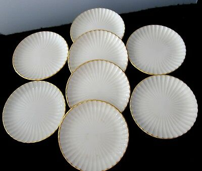 8 Lenox Ivory China Ribbed Butter Pats Coasters  Made In Usa