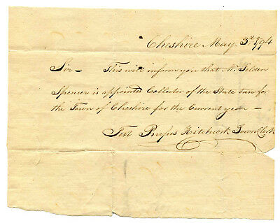 Early American Colonial Handwritten Document * Cheshire CT  May 3rd, 1794
