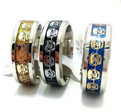 25 mix skull men women fashion Stainless steel Ring Gothic Jewelry wholesale