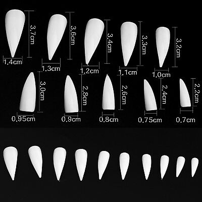 W2 Stiletto tips long pointed nail art white clear natural practice display 600x