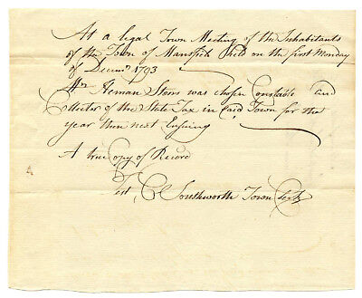 Early American Colonial Handwritten Document * Mansfield CT * December 4th, 1793