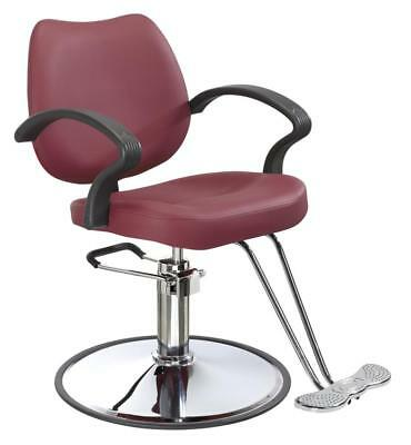 Burgundy Classic Hydraulic Barber Chair Styling Salon Beauty 3W
