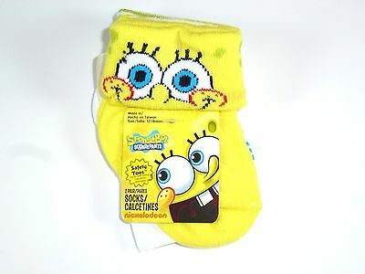 New 2 Pairs Boys Girls Spongebob Squarepant Non Skid Socks Size 6-12M Ns1