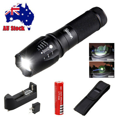 Military 20000LM XML T6 LED Rechargeable Flashlight Zoomable Hunting Torch 18650