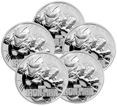 Five 2018 Tuvalu Marvels Iron Man 1oz Silver Coin (b.336)