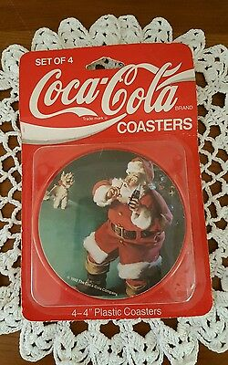 1992 Coca Cola Company Christmas Santa Coasters Set Plastic Vintage Collections