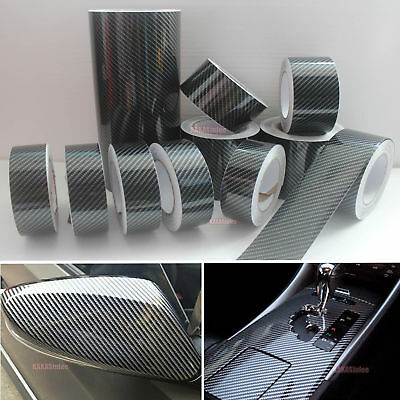 DIY Adhesive Vehicle Glossy Black 2D Carbon Fiber Vinyl Tape Wrap Sticker - CB
