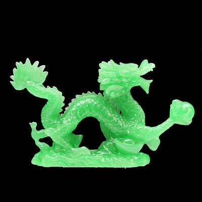 Green Jade Chinese Feng Shui Dragon Figurine Craft Statue for Luck & Success