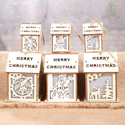 1PC Light Up Christmas Wooden House Hanging Decorations Xmas Tree Gifts 3 Styles