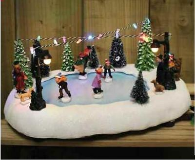 Kingfisher Battery Operated Christmas Xmas Village Ice Skating Scene