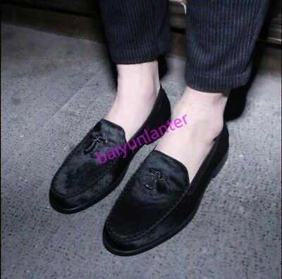 Mens Fur Pull On Loafers Fashion Tassels Flats Casual Business British Shoes Hot