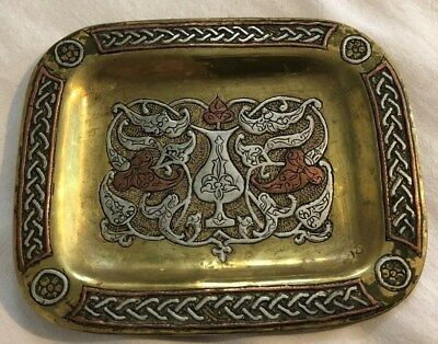 Quality Antique Islamic Middle Eastern Silver & Copper Inlay Small Brass Tray