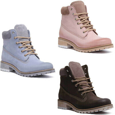 Justin Reece Lace up Womens Soft Leather Walking Boot Size Pink UK 3 - 8
