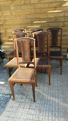 Antique Set Six Art Nouveau Mahogany Dining Chairs (H332)