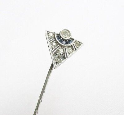 Old vintage Art Deco paste solid silver stick pin