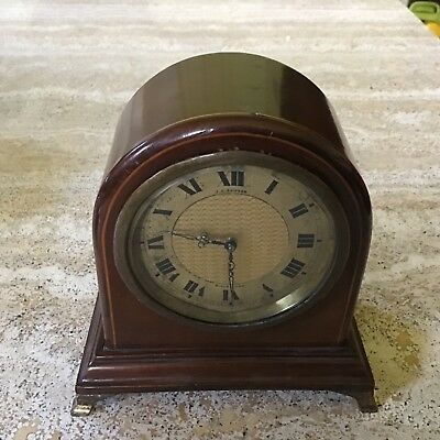 Small Mahogany Wind-Up Mantel Clock With String Inlay Swiss Movement In G.w.o.