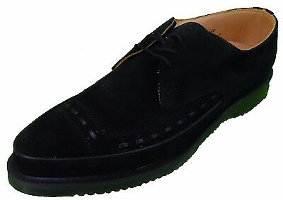 George Cox Classic Black Suede Leather Lace up Creepers
