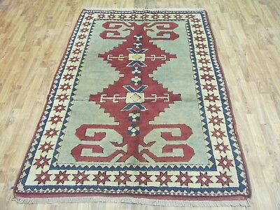 A SUPERB OLD HANDMADE KARS TURKISH WOOL ON WOOL ORIENTAL RUG (192 x 128 cm)