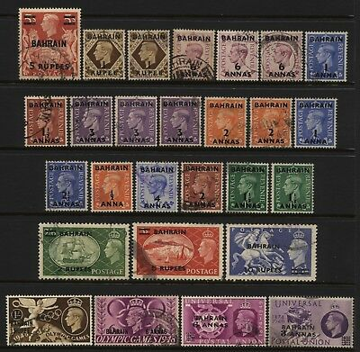 Bahrain Collection 27 KGVI British Ovprt Stamps Used