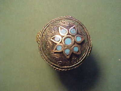 Near Eastern silver ring  turquoise inserts circa 1700-1900 AD.