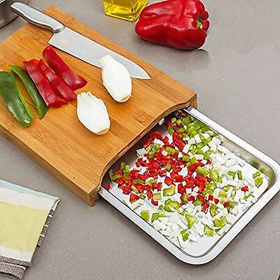 Bamboo Wooden Chopping Board Cutting Slicing with Sliding Stainless Steel Tray