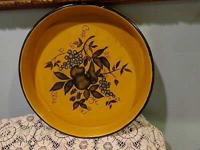"Vintage Toleware Hand Painted Metal Round Serving Tray 13 x 13"" Fruit Mustard"