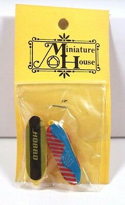 Vintage Pair Of Two Skateboards Dollhouse Miniature House 1:12 New!