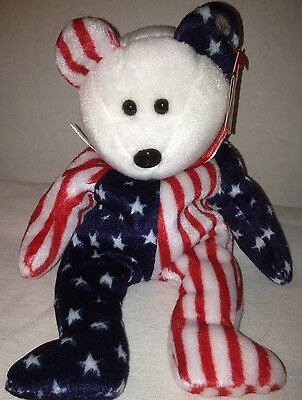 Ty Spangle White Face Bear Beanie Baby 1999 Retired New Stuffed Toy!