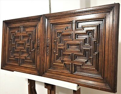 "Gothic Cabinet Panel Door 18"" Pair Antique French Carved Wood Salaged Furniture"