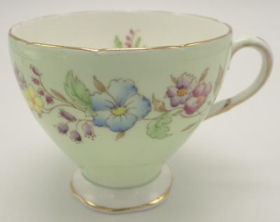 Foley Flowered English Bone China Tea Cup Pale Green Gold Gilding Pink Blue