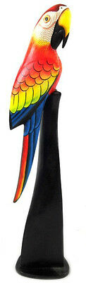 """20"""" Wood Red Parrot Statue On Stand Carving Painting Head Art African Tropical"""