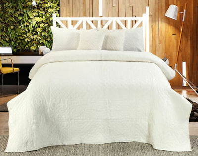 Chloe Handmade Quilted Bedspread And  Cover Sets (Sold Seperately)-Ivory