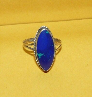 ~VTG~TAXCO~MEXICO~SOUTHWESTERN~925~STERLING~SILVER~w/ AZURITE~RING~SIZE 7~SIGNED
