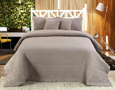 Chloe Handmade Quilted Bedspread And  Cover Sets (Sold Seperately)-Grey