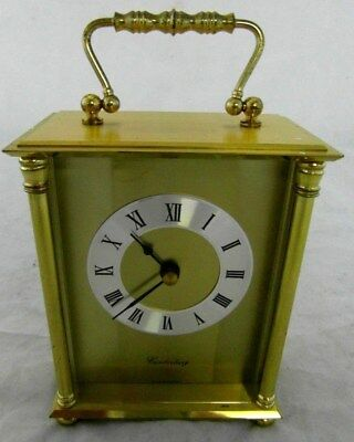 SOLID BRASS GERMAN - Canterbury - CARRIAGE CLOCK. GERMAN MOVEMENT ***Faulty***