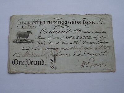Scarce Antique Bank note Promissory Note Aberystwyth & Tregaron One Pound 1813